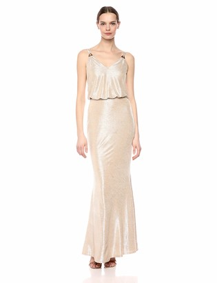 Calvin Klein Women's Sleeveless V Neck Blouson Gown
