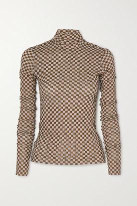 Nanushka Harri Checked Stretch-mesh Turtleneck Top - Brown