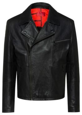HUGO BOSS Slim Fit Biker Jacket In Calf Leather With Feature Lining - Black