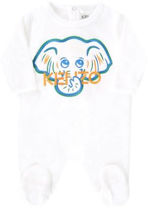 Kenzo Kids White Babygrow For Baby Boy With Logo
