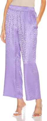 Les Rêveries Tropical Pajama Pants in Purple Leopard Jacquard | FWRD
