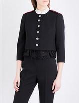 Alexander McQueen Broderie cropped wool-twill jacket