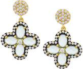 Freida Rothman Aqua CZ Crystal Clover Drop Earrings