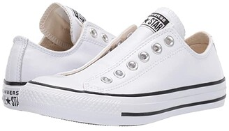 Converse Chuck Taylor All Star Slip Basic Leather - Slip (White/White/Black) Shoes