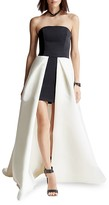 Halston Strapless Color-Blocked Faille Gown