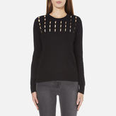 MICHAEL Michael Kors Women's Slash Neck Crew Sweater Black
