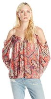 Nicole Miller Women's Boho Loom Cold Shoulder Blouse