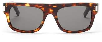 Saint Laurent Rectangular Frame Tortoiseshell Sunglasses - Mens - Tortoiseshell