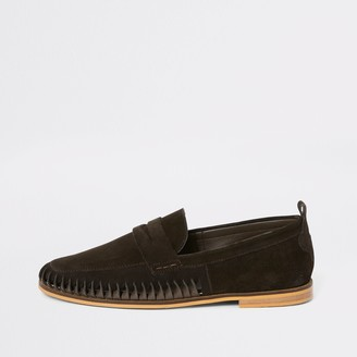 River Island Mens Dark Brown suede woven loafers