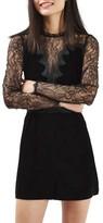 Topshop Women's Lace & Velvet Romper