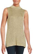 Calvin Klein Metallic Sleeveless Mockneck Sweater