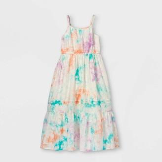 Cat & Jack Girls' Tiered Tie-Dye Woven axi Sleeveless Dress - Cat & JackTM