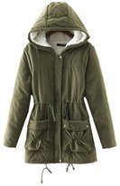 WHENOW Women's Fleece Hooded Wear Winter Coat Cotton Parka Long Jacket S