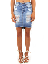 One Teaspoon Destroyed Denim Mini Skirt with Fringe in Blue Jack