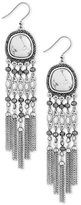 Lucky Brand Silver-Tone Multi-Stone Statement Earrings