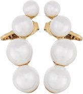Kenneth Jay Lane Golden Simulated Pearl Crawler Earrings