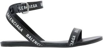 Balenciaga Logo Print Heel Strap Sandals