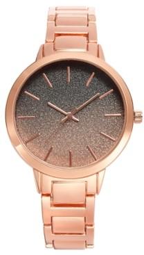 INC International Concepts Inc Women's Rose Gold-Tone Glitter Bracelet Watch 40mm, Created for Macy's