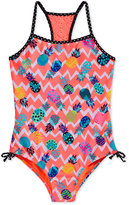 Breaking Waves 1-Pc. Chevron Pineapple-Print Swimsuit, Big Girls (7-16)