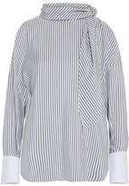 Brunello Cucinelli Cold-shoulder Striped Silk Top - Light blue