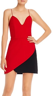 Alice + Olivia Amina Plunging Color-Block Mini Dress