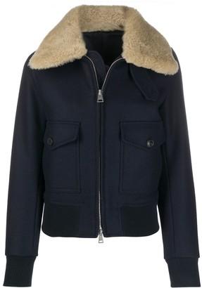 AMI Paris Shearling Trimmed Aviator Jacket
