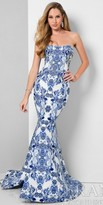 Terani Couture Strapless Damask Print Trumpet Evening Dress