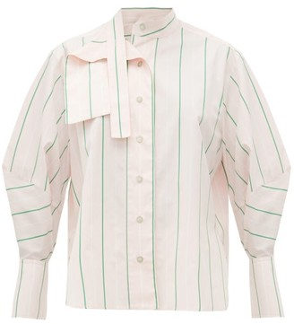 Palmer Harding Palmer//Harding Palmer//harding - Sara Striped Cotton Neck Tie Shirt - Womens - Pink Multi