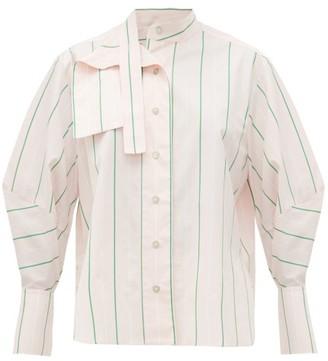 Palmer Harding Palmer//harding - Sara Striped Cotton Neck Tie Shirt - Womens - Pink Multi