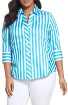 Foxcroft Plus Size Women's Awning Stripe Non-Iron Cotton Shirt