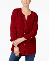 JM Collection Tab-Sleeve Mixed-Media Blouse, Created for Macy's