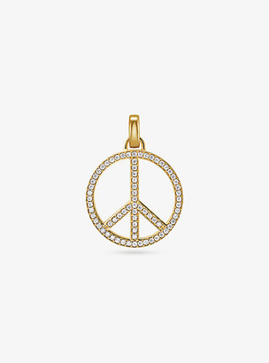 Michael Kors 14K Gold-Plated Sterling Silver Pave Oversized Peace Charm - Gold