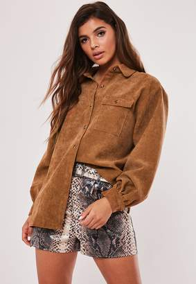 Missguided Rust Oversized Cord Shirt