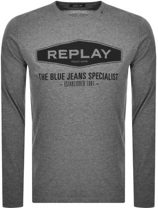 Replay Long Sleeved Logo T Shirt Grey