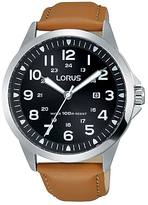 Lorus Rh933gx9 Date Leather Strap Watch, Camel/black