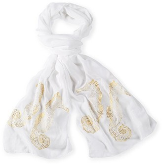 Mud Pie Women's Fashion Resort Wear Shimmer Sea Life Sheer Scarves (White Seahorse)