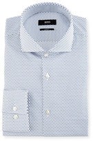BOSS Slim-Fit Dot Dress Shirt, White/Blue