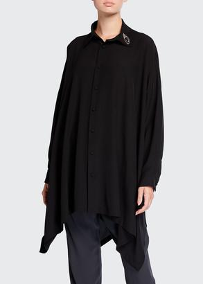 eskandar Embellished-Collar A-Line Silk Shirt