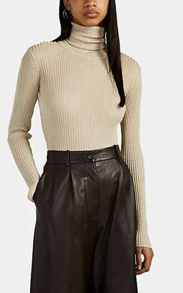 Altuzarra Women's Bryan Metallic Rib-Knit Turtleneck Sweater - Offwhite