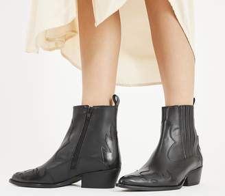 Office Amelie Mixed Material Western Boots Black Box Leather