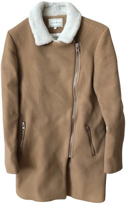 Sandro Camel Wool Coat for Women