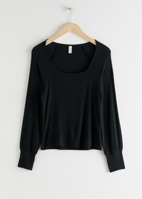And other stories Relaxed Square Neck Ribbed Top