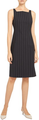 Theory Pinstripe Square Neck Sleeveless Stretch Wool Dress