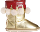 Emu Metallic Faux Leather Boots W/ Pompoms
