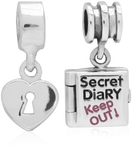 Rhona Sutton 4 Kids Children's Secret Diary Heart Lock Drop Charms - Set of 2 in Sterling Silver