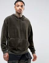 Asos Oversized Velour Hoodie In Khaki