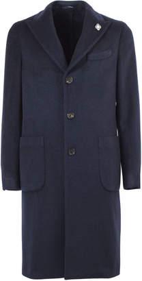 Lardini Navy Blue Cashmere Single-breasted Coat