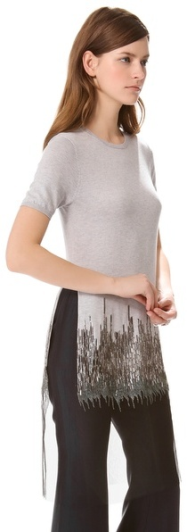 Wes Gordon Zigzag Embroidered Knit Tee