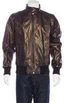 Dolce & Gabbana Metallic Leather Harrington Jacket