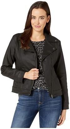 Liverpool Coated Stretch Moto Jacket (Black) Women's Coat